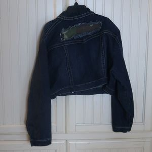 Ashley Stewart Distressed Jean Jacket Plus Size 20
